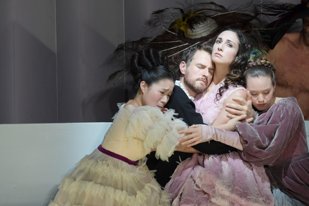 Karen Vuong (Second Woman), Sebastian Geyer (Aeneas), Cecelia Hall (Dido), Angela Vallone (Belinda)